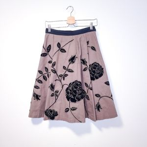 ANTHRO ODILLE Shadow Blossom Floral Applique Skirt